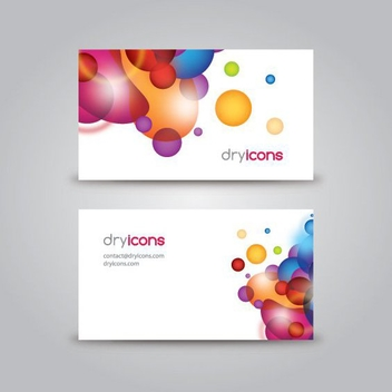 Colorful Splashed Bubbles Business Card - vector gratuit #305295