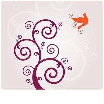 Red Swirls Flying Bird Background - vector gratuit #305325