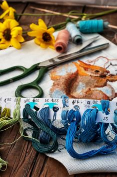 Scissors and sewing threads - Kostenloses image #305695
