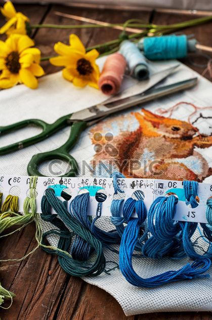 Scissors and sewing threads - Free image #305695