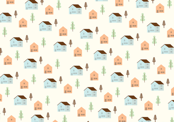 Houses and trees pattern background - vector gratuit #305795
