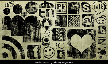 Black Ink Grunge Stamp Texture Social Media Icons - Kostenloses image #313655