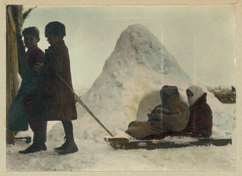 Vintage Portrait Photo Picture of Children Playing in the Cold Winter Snow, Pulling a Sled - Free image #314145