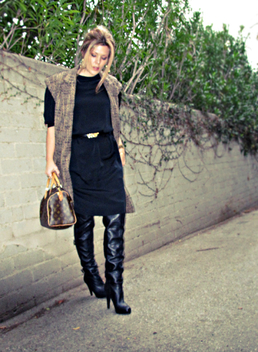black dress black boots sleeveless coat+louis vuitton bag+black on black+vintage dress - Free image #314535