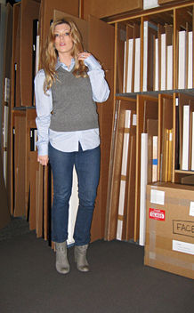 sweater vest and jeans and boots+outfit+art storage+at the gallery+strawberry blonde hair - Free image #314545