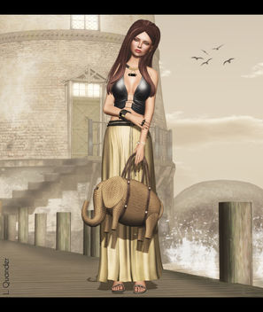 Baiastice_Yse maxi skirt-yellow & Baiastice_Mjrie top-black for FaMESHed - Free image #315875