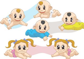 Twin Babies Vectors - Free vector #317445