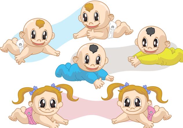 Twin Babies Vectors - vector gratuit #317445