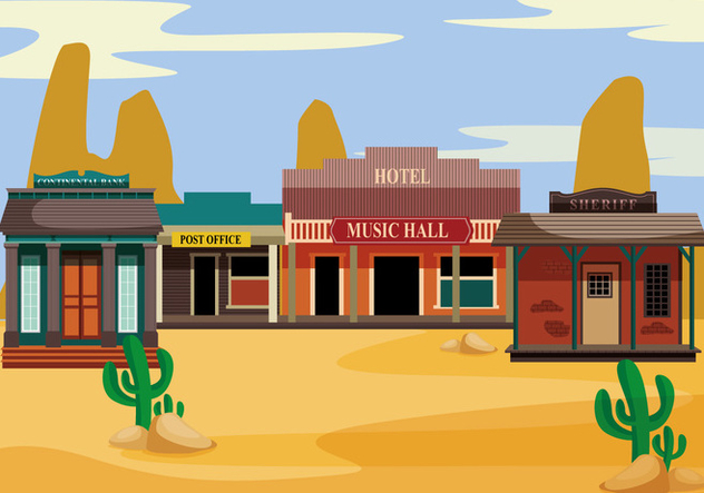 Old western towns vector - Free vector #317545
