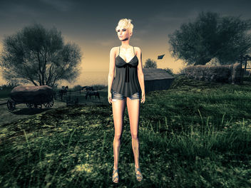 The girl who was walking in the horse pasture - image gratuit #325595