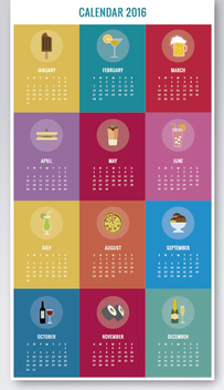 Colorful Drinks & food 2016 calendar - vector gratuit #327185