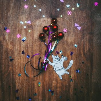 Little paper fox flying with the Christmas decorations - бесплатный image #327345