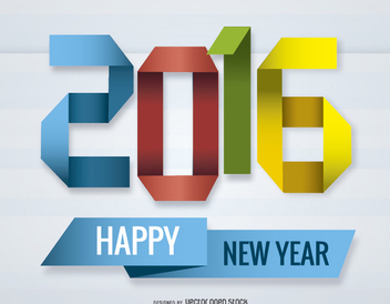 2016 New Year origami - vector gratuit #328015