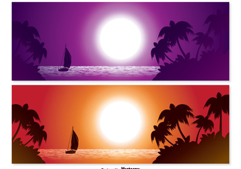 Tropical Scene Banner Set - Free vector #328315