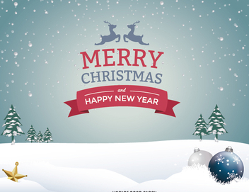 Snow Christmas landscape message - vector gratuit #328375
