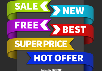 Sale colorful label vectors - бесплатный vector #328815