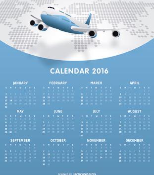 Airlines 2016 calendar tempalte - Kostenloses vector #328965