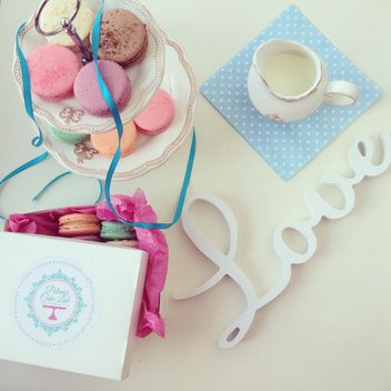 Word Love, macaroons and jug of milk - image gratuit #329075