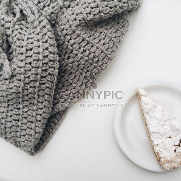 теплый уютный шарф серый пирог - бесплатный image #329205