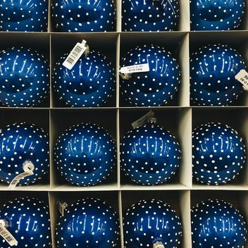 Christmas toys blue balls in the box - image #329245 gratis