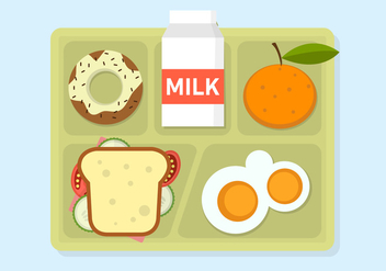 Vector Illustration of School Lunch - vector gratuit #329375