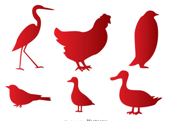 Fowl Red Silhouette Icons - Free vector #329385