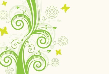 Green Floral Swirls Butterflies Design - Free vector #329615