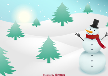 Snowman on snow background - Free vector #329705