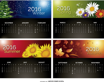 Calendar 2016 - 4 Seasons - vector gratuit #329835