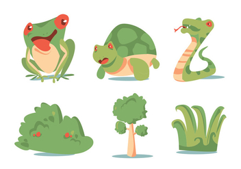 Green Plant and Animal Vector Set - Free vector #330115