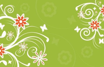 White Floral Green Background - Free vector #330185