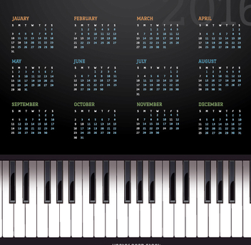 2016 music piano calendar - vector gratuit #330815