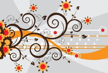Floral Swirls Colorful Abstract Background - vector gratuit #330825