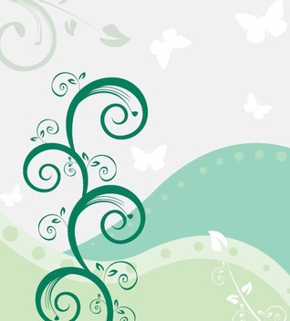 Green Swirls Waves Background - Free vector #332465