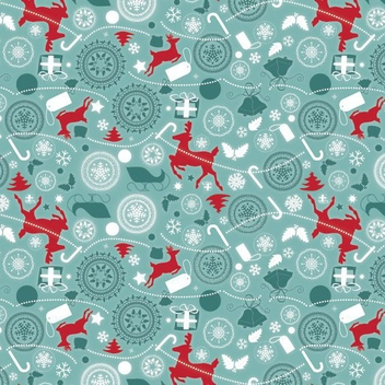 Retro Flat Christmas Pattern - Free vector #332725