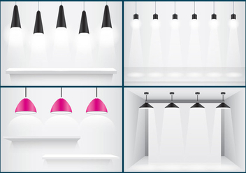 Hanging Lights And Shelves - vector gratuit #332985