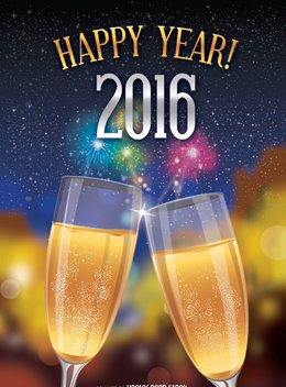 Happy 2016 toast over fireworks background - Free vector #333095