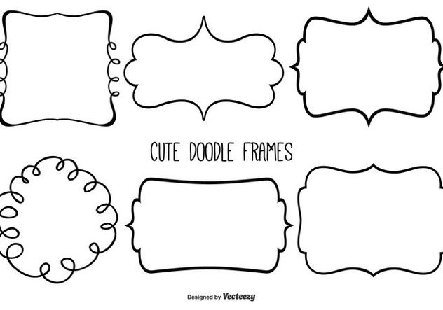 Cute Doodle Frame Set - Free vector #333375