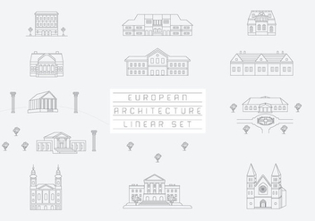 Free Vector Collection of Linear Icons and Illustrations with Buildings - Kostenloses vector #333505