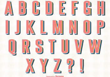 Retro Style Alphabet Set - Free vector #333985