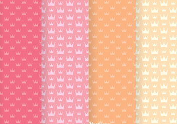 Sweet Crown Girly Vector Patterns - Free vector #334095