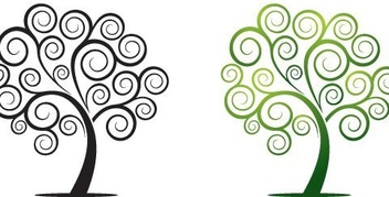 Flat Swirling Abstract Trees - Free vector #334135