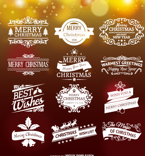Set of Christmas emblems - vector gratuit(e) #334355