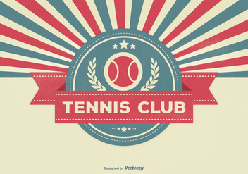 Retro Style Tennis Club Illustration - vector gratuit(e) #334595