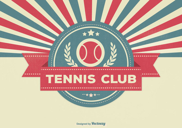 Retro Style Tennis Club Illustration - Free vector #334595