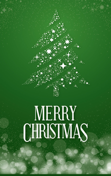 Christmas postcard with pine tree - Free vector #334665