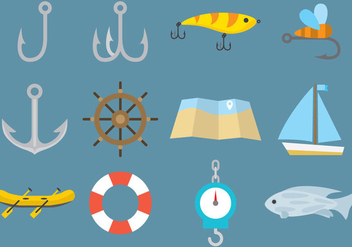 Vector Fishing Icons - vector gratuit #334875