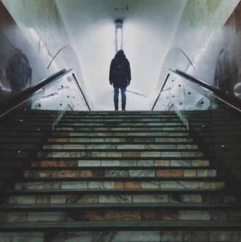 Man's silhouette on the stairs - бесплатный image #335115