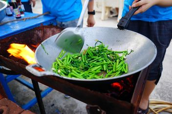 Stir Fried Swamp Cabbagefor open air cooking - image gratuit #335205