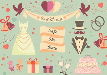 Trendy Wedding Vector Pack - Free vector #335335